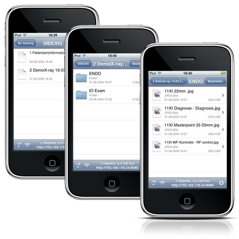 Auf dem iPhone oder iPod touch sind die dentalen Patienten- und Bildinformationen identisch zur SIDEXIS XG Datenbank strukturiert. Via Fingerzeig kann spielend einfach zwischen folgenden Navigationsebenen hin- und hergesprungen werden.